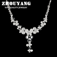 ZYN555 Love of Butterfly Women's Wedding Necklace 18K Platinum Plated Jewelry Rhinestone Made with Austrian Crystals
