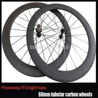 23mm Width 60mm tubular carbon fiber wheels Powerway R13 hub 3K finish 700c carbon fiber racing road bike wheelset