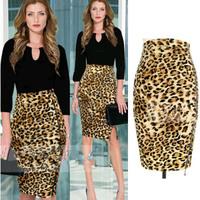 Hot Sale 2014 Women Leopard Pencil Skirts Elegant Knee-Length Leopard Stretch High Waist Bodycon Skirts Female Sexy Skirt 2445