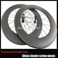 23mm Width ultra light 88mm clincher 700c carbon wheels cycling bike wheelset, carbon powerway R13 hub road bike wheel