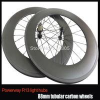 23mm Width 88mm tubular 700c carbon road bike wheels Powerway R13 hub front 20 rear 24 free brake pads and skewer