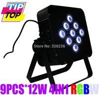 Freeshipping Wireless & Battery Powered 9pcs*12W 4IN1 RGBW Flat Par Light Hi-Quality DMX512 8Channels Slim Led Par Stage Light