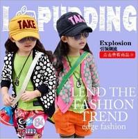 2014 New High Quality Spring Autumn Jackets Cardigan Kids Girls Sweater Dot Print Fashion Long Sleeve Coat Children Outerwear