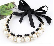 2015 Hi-end Vivi big pearl rhinestone necklace female round lace band short design necklaces & pendants