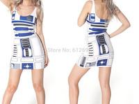 OSAILI ladies 2014 fashion Galaxy Print STAR WARS R2D2 Artoo robot sundress summer dress Bodycon club beach slim dress