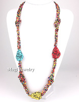 2014 Fashion Beads Necklace Women 85cm Long Resin Stone Sweater's Jewelry Super deal selling discount BFWS