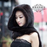 Winter thermal mink fur hat scarf Women mink hair knitted hat scarf one piece warm Muffler for women