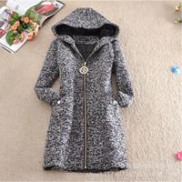 4XL New 2014 Fashion Winter Woolen Coat Women Thick Slim Woolen Outerwear Long sleeve Jackets Women Plus size A101