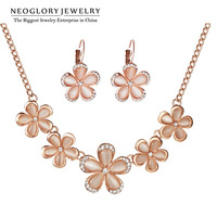 Neoglory Flower Designer Opal Rose Gold Plated Jewelry Sets Chain Necklace & Earrings for Women Designer Jewelry Gifts 2014 New