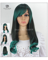 Green Ombre Hair Wig,Curly Long Green Synthetic Wigs For Black Women,Black Green Gance Party Wig Cheap Cosplay Wigs