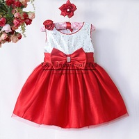 Newest New Arrival Flower Girl Dress Hot Pink Polyester Sequin Girls Party Dresses With Bow Baby  Clothes  GD40814-21