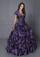 low price  in stock long beautiful purple taffeta prom dresses with jacket