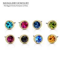 Neoglory Austria Rhinestone Charm Gold Plated Colorful Stud Earrings for Women Brand Jewelry Accessories 2014 New Fashion Gift