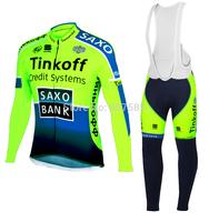 TINKOFF SAXO BANK 2014 Cycling Jersey bib kit long Sleeve bib pants Cycling tight ropa Ciclismo fitness clothes Maillot MTB