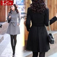 NEW Woolen coat for woman Autumn winter slim wool jacket  2015 fashion women jacket sexy woman lady outerwear Overcoat