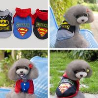 100% Cotton Dog Hoodie Cute Superman And Bat Pattern Pet Clothes Autumn Winter Dog Coat Cheap Sale(S/M/L/XL/XXL)Supply