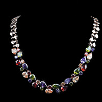Luxury high quality statement necklace 4mm 20inch Colorful AAA+ Zircon Crystal Imitation Diamond necklace for girl sweater chain