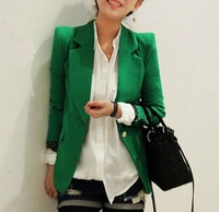 S-XXL(Green+Rose+White)Free Shipping 2014 Autum new long-sleeved Blazers For Office Lady Working Short Design Suits 140818#3