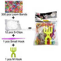 100 Packs/lot Colorful Loom Bands Kit Rubber Loom Bands Set Bracelet (300 Bands + 12 S-Clips + 1 Small Hook + 1 M Hook) (LB-04)