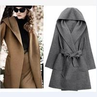 UK 2014 Winter New Fashion Women Black Grey Brown Hooded Belt Cashmere Woolen Coat Nibbuns Female Long Jacket Casacos femininos