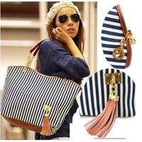 Handbags women's Korean chain shoulder bag wind stripe canvas bag big bag totes tassel bags
