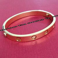 2014 New Jewelry Fashion Women/Men Titanium Steel 18K Gold Plated Lovers Bracelet,Finest Designer Bangle With/No CZ Stones