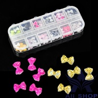 60 Pcs 3D nail charms Resin Bowknot Glitter Stickers Beads DIY Nail Art Decorations styling tools decorated nails Beauty 10900