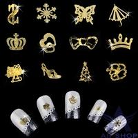 Women Beauty Gold 3D Nail stickers Acrylic Tips Metal Slice Wheel Tiny Mixed Design nail art decorations adesivo para unhas 2572
