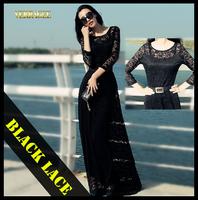2015 autumn black lace maxi dresses women new fashion plus size slim long dress summer o-neck sleeve floor-length casual dress