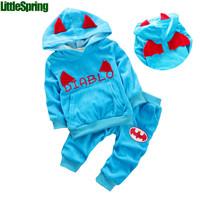 Pre-sale  retail  Children's clothes set ! spring&autumn Girls boys sports pants +Little diablo hooded Tops suits  ELZ-T0337
