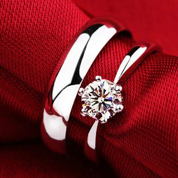 60% с стерлингового серебра 925 пробы кольца для мужчин и женщин влюбленных мода кристалл пару кольцо анель де прата циркон J063
