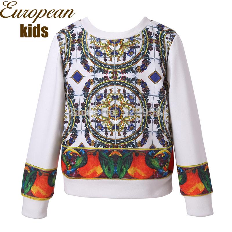 New 2014 WL MONSOON children sweatshirts fruit and majolica print girl hoodies high quality girl's baby kids sweatshirt 2-12T(China (Mainland))