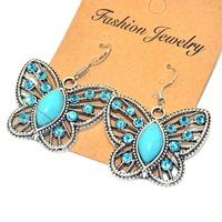 New Retro Silver Plated crystal butterfly earrings,bohemian Style charm vintage turquoise earrings for women long earrings
