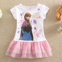 Free shipping New summer dress 2014 baby girl dress fashion frozen dress Anna Children dresses girls clothing 100% cotton 5pcs