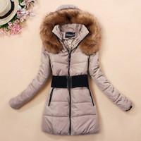 new 2014 winter coat women cotton down jacket plus size slim long fur parkas for women winter high quality sashes