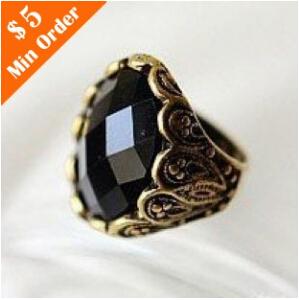 nj44 2015 New Fashion Hot-Selling~Wholesale Fashion Carved Black Gem Ring Retro Personality Ring free shipping(China (Mainland))