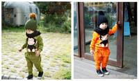 New 2014  winter Korean Cotton Children Clothing Set  Monkey Boys Girls Suit (shirt+panty)   Clothing Sets  Childrens Outerwear
