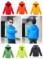 2014 New Fashion Children down jacket Long Sleeve three row zipper pocket Hooded down coat boys winter jacket outwear 7 Colors