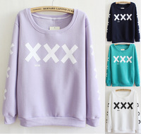 big XXX front and sleeve specail printed cotton hoodies for women warm well fleece inside sweatshirt women 5 color free