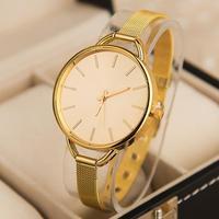 Top Sale Fashion Grace Thin Mesh Strap Dress Watches,Decent Exquisite Style Design Luxury Gold Plated Women Lady Quartz Watches