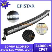 Curved Epistar 42 inch LED Work Light Bar offroad 240W 12V/24V 4x4 SUV Truck 80X3W Combo Beam Car Led Driving light