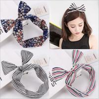 2pcs Twisted Headband Bandana Turban Headband Women's Head-wrap Dolly Bow Wire Headband Boho Headwrap