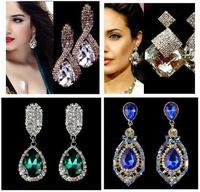 2014 new water drop crystal drop earrings luxury jewelry wholesales