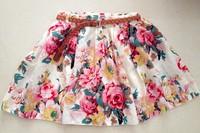 Free Shipping 2014 Vintage New Fashion Leopard Summer Chiffon Women Skirts Casual Floral Summer Dress Short Skirts NO BELT