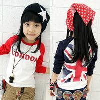 Order any 2pcs  Sz100~130 baby clothing boys and girls t shirts children T-shirts kids long sleeve T-Shirt love london tops tees