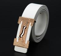 Drop shipping 2014 designer mental buckle jaguar  leather belt for men  ,designer belts men Free Shipping