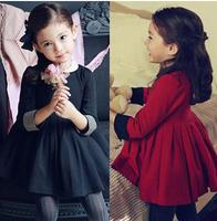Free Shipping 2014 black Girl's Dress New fashion Girl Dress Children Clothing Kids Clothing Girls black red  Dress TQ001