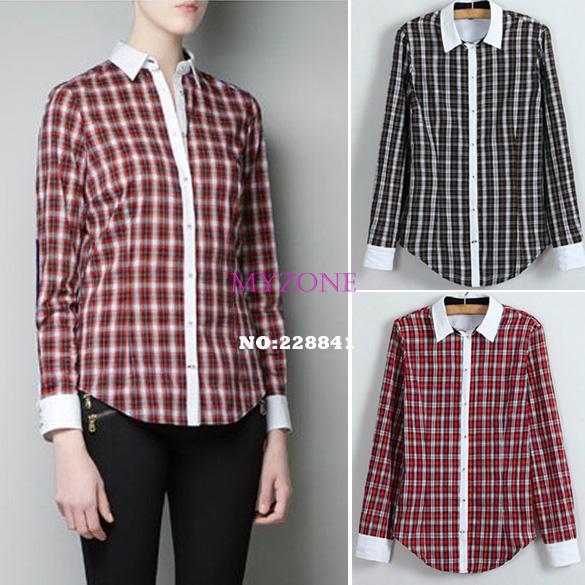 Novas senhoras blusa feminina xadrez manga comprida lapela Casual camisas de algodão mulheres roupas 2 cores B22 13006(China (Mainland))