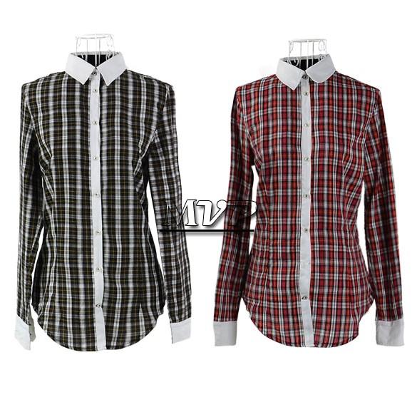Chegada Nova camisas xadrez longo da luva das mulheres lapela Casual Algodão Mulheres roupas 2 Cores senhoras blusa B22 13006(China (Mainland))