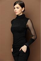 Black Blouses Women's Tops Black Turtleneck Diamond Stud Long Sleeve Blouse Mesh Slim Basic Tops Shirt AY851882